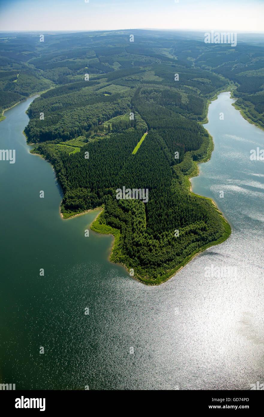 Aerial view, Wehebach dam with water reflections, Hürtgenwald, Rhineland, North Rhine Westphalia, Germany, - Stock Image