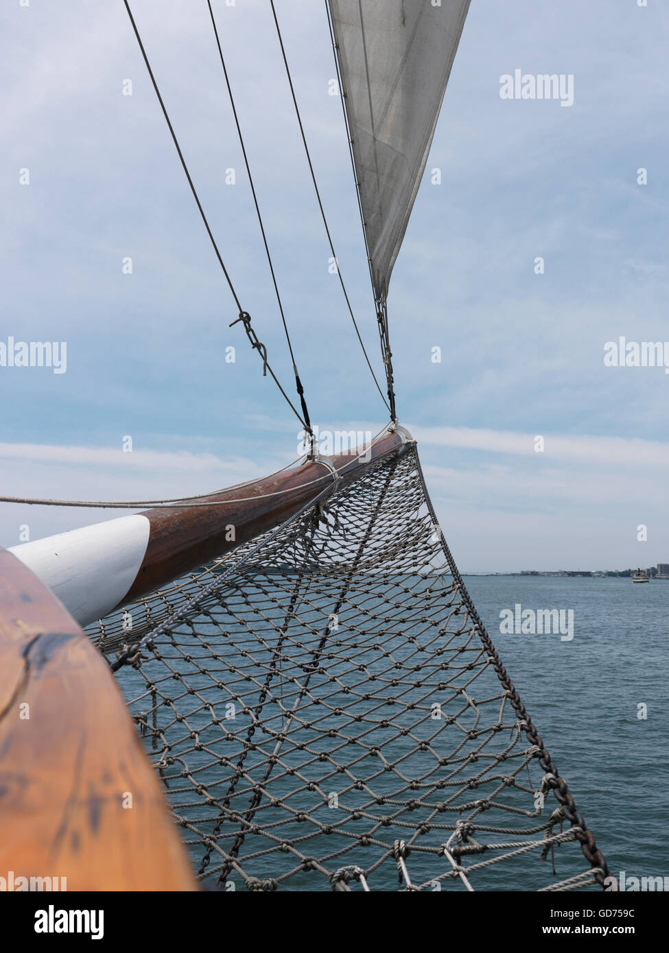 Closeup of a tall ship sailing vessel bowsprit - Stock Image