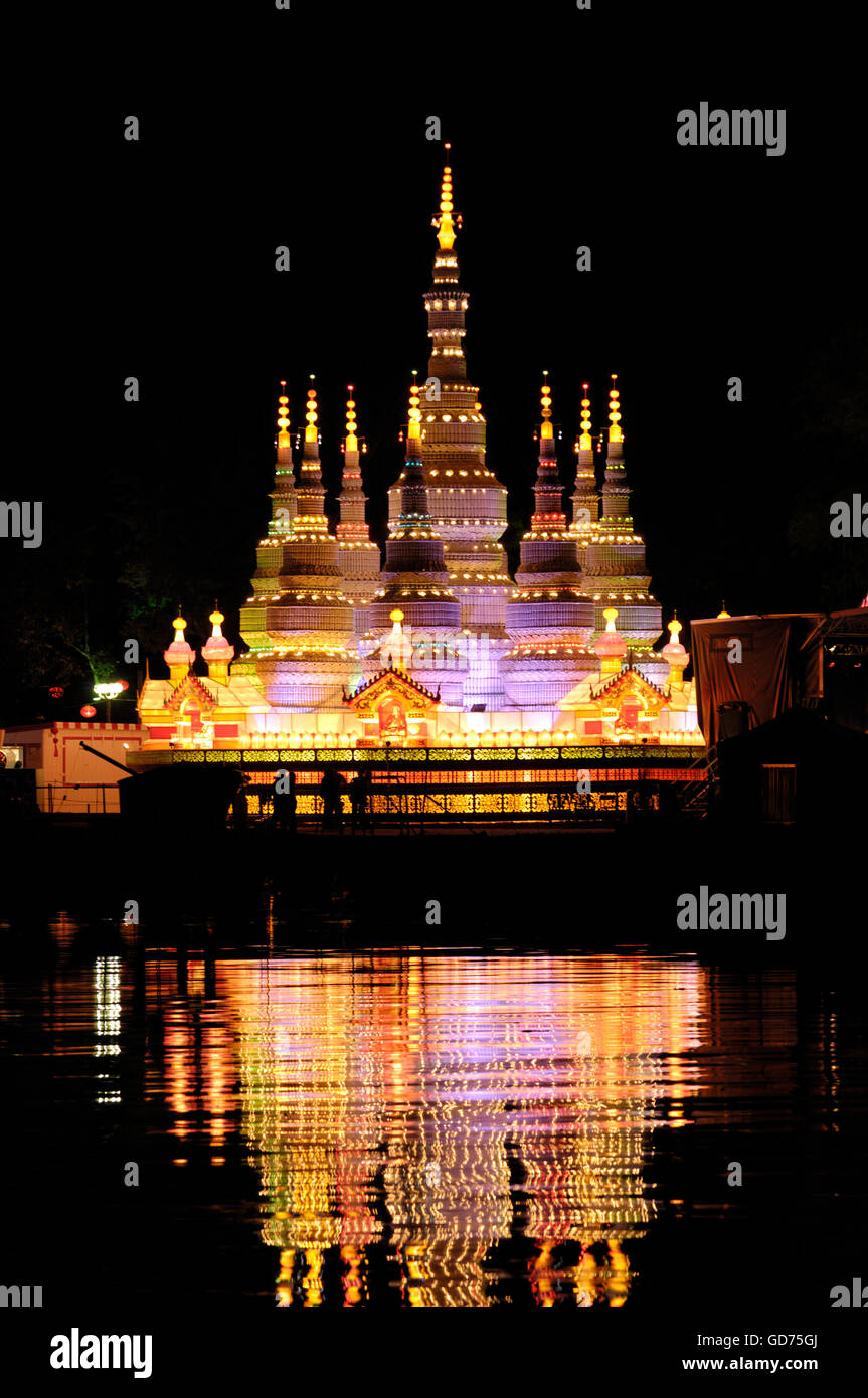 Chinese Lantern Festival, colorful illumination at night reflecting in water, Ontario Place, Toronto, Ontario, Canada - Stock Image