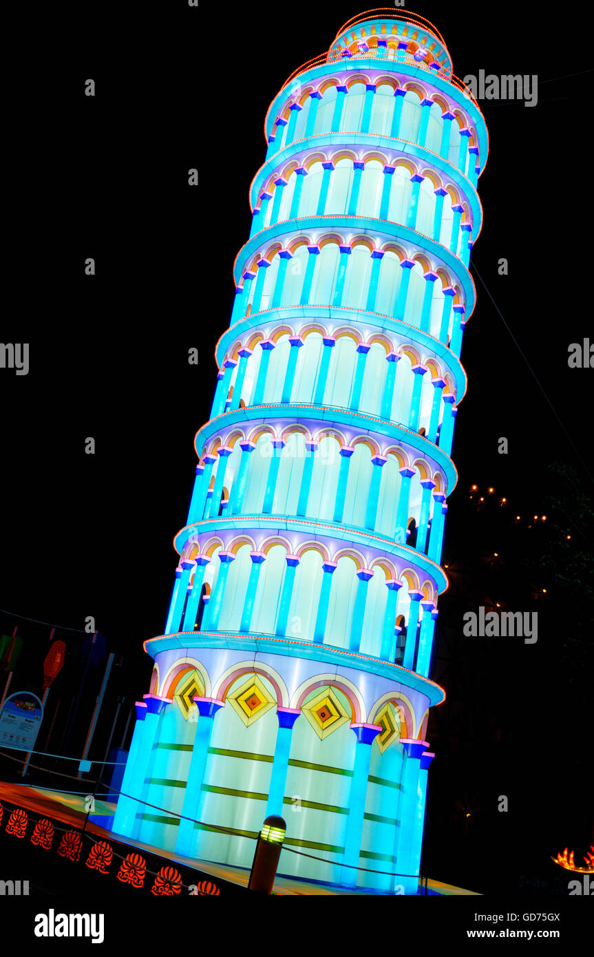 Pisa Tower, illumination at the Chinese Lantern Festival, at night, Ontario Place, Toronto, Ontario, Canada - Stock Image