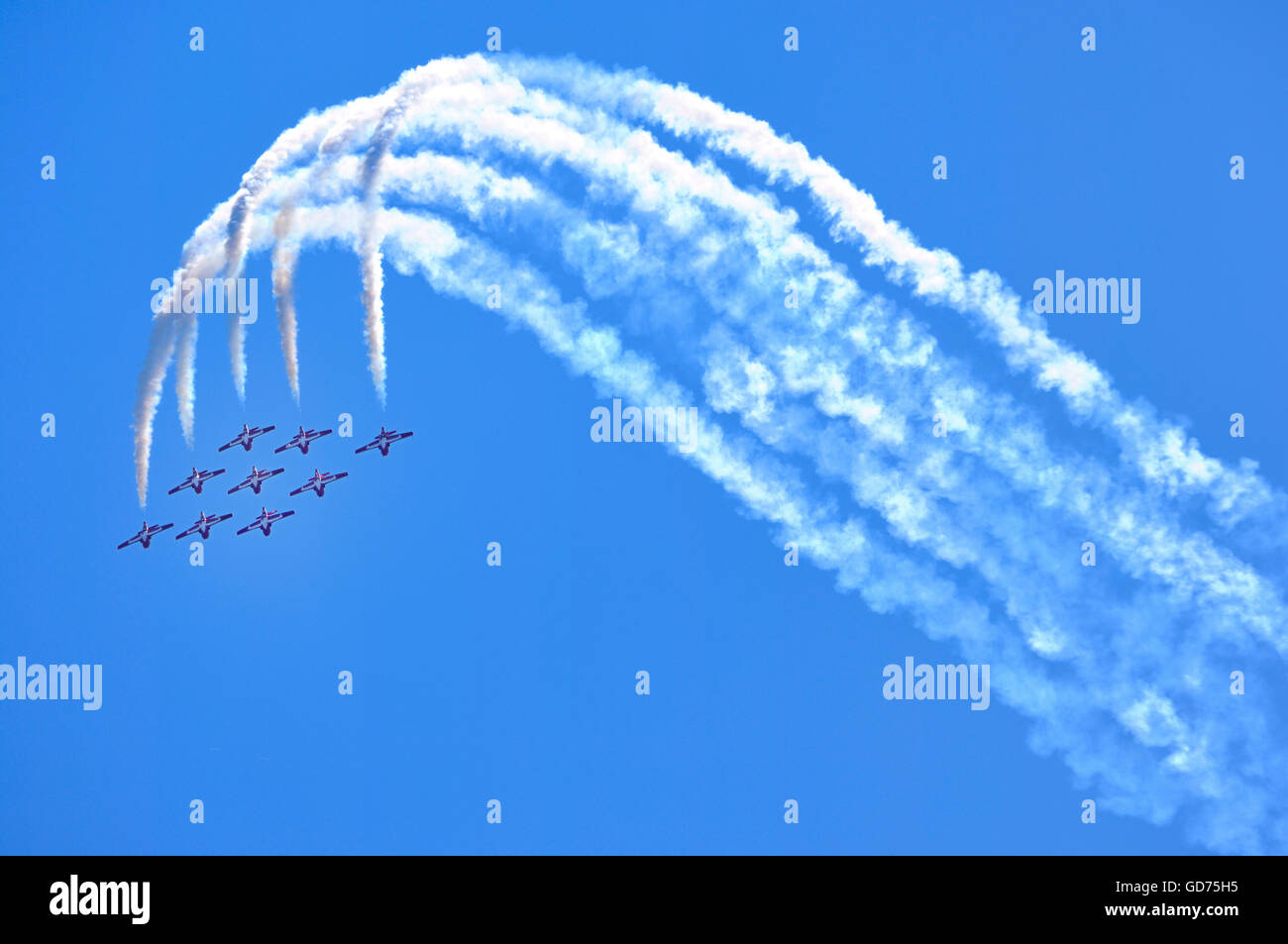 The Canadian Forces Snowbirds aerobatic team, Canadian International Air Show, Toronto, Ontario, Canada - Stock Image