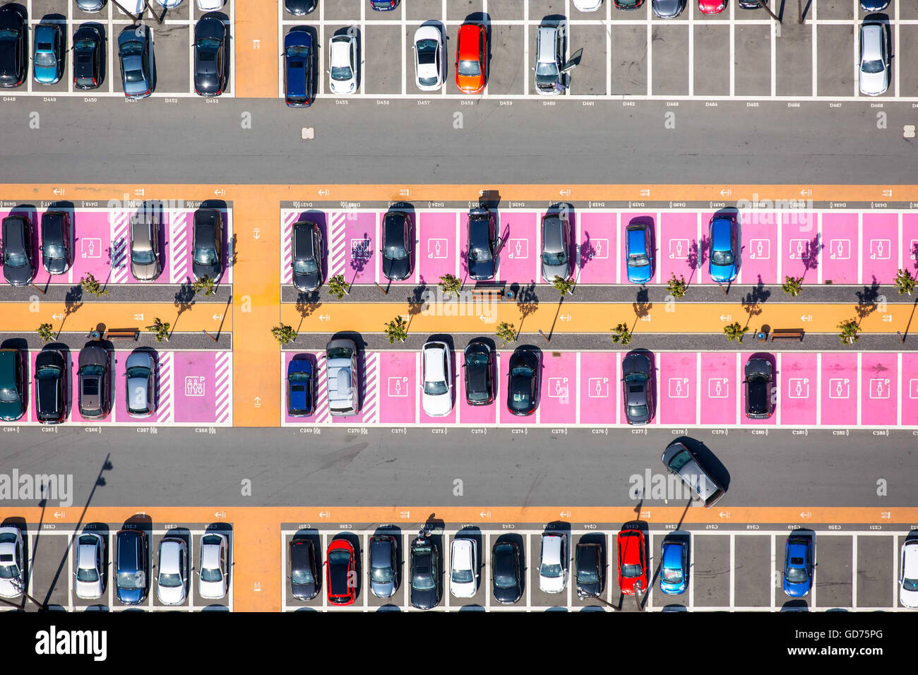 Aerial view, parking with parked cars, parking spaces for women, disabled parking, shopping center Ruhr Park Bochum, - Stock Image