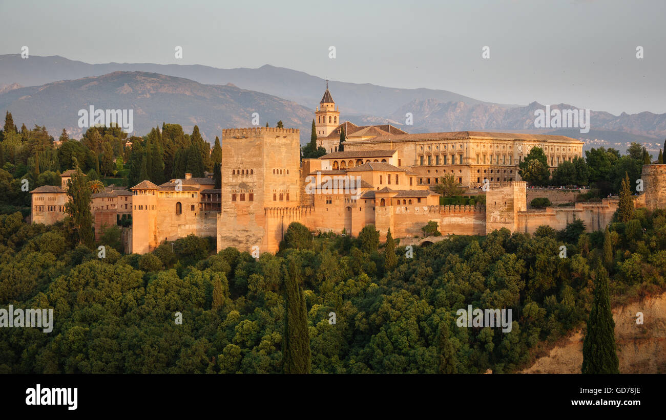 Arabic fortress of Alhambra at dusk, Spain. - Stock Image
