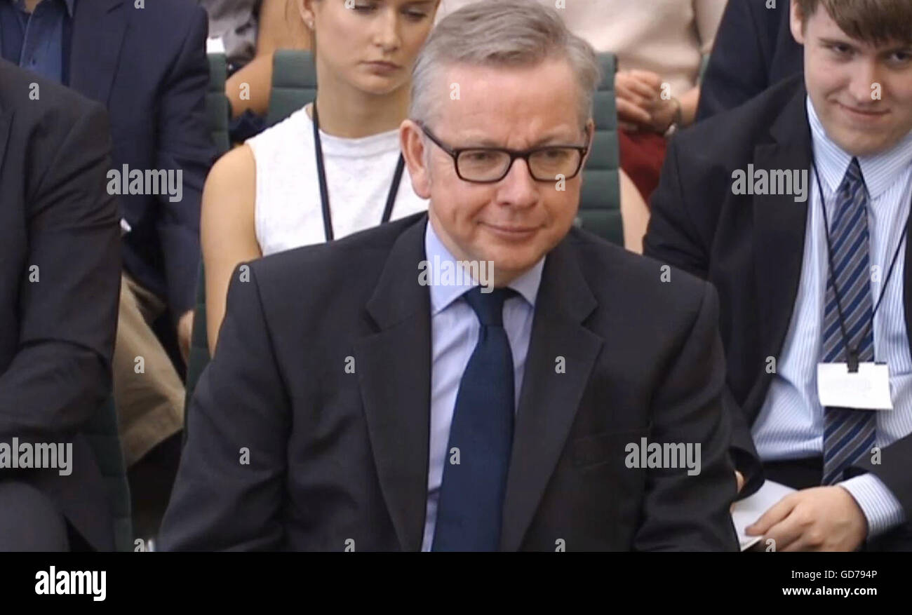 Justice Secretary Michael Gove gives evidence to the Commons Justice Committee in Westminster, London, on the radicalisation Stock Photo