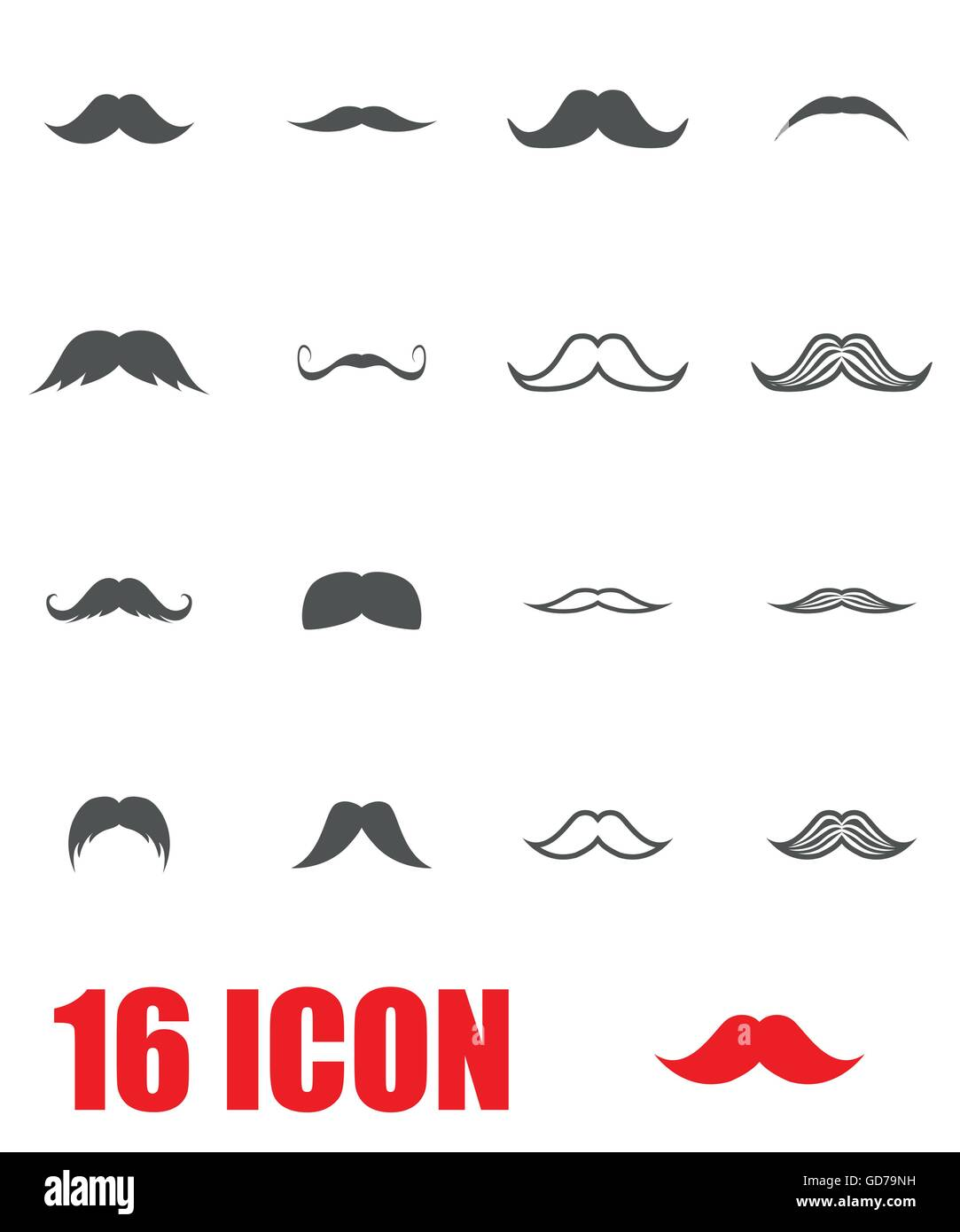 Vector grey moustaches icon set - Stock Image