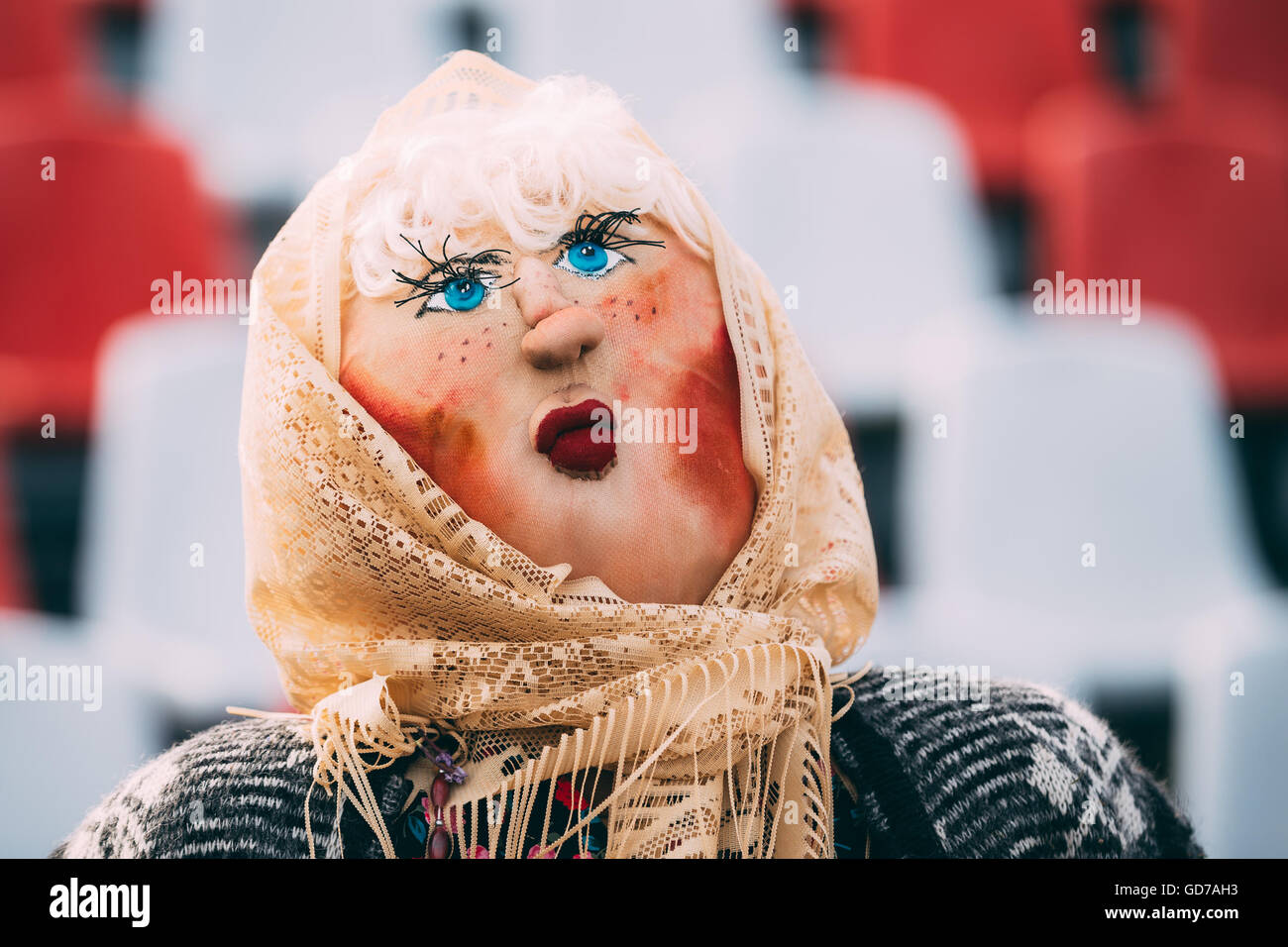 Attribute of traditional folk celebration of Maslenitsa - effigy out of straw,decorated with pieces of rags. Maslenitsa - Stock Image