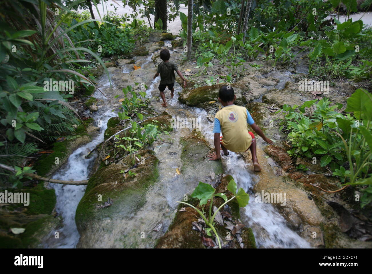 a waterfall in the town of Loihuno in the south of East Timor in southeastasia. Stock Photo