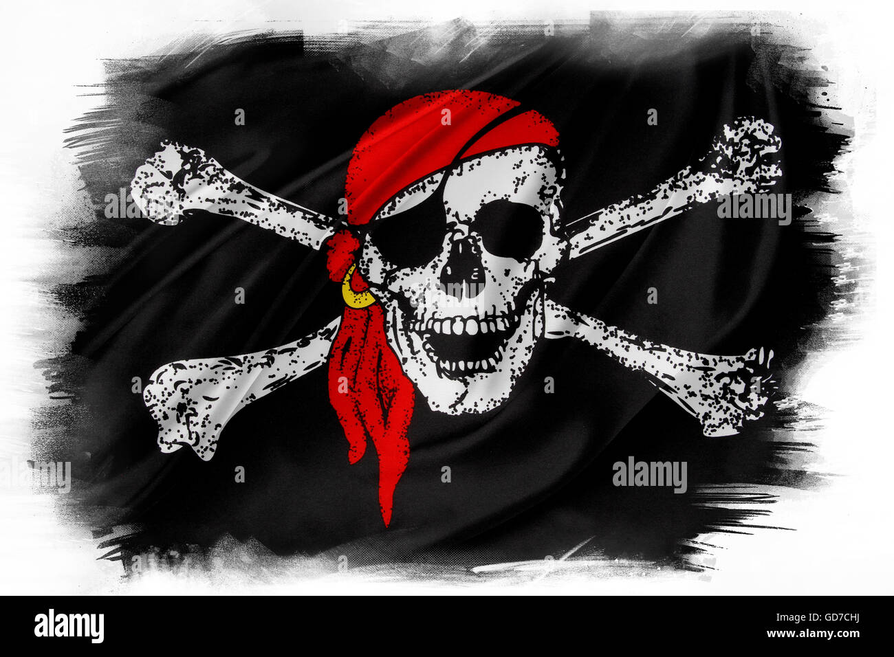 Pirate flag on plain background - Stock Image