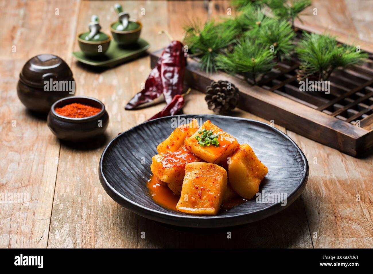 Korean Traditional Food - Kimchi (Fermented/Pickled Radish, Asian Cuisine) - Stock Image