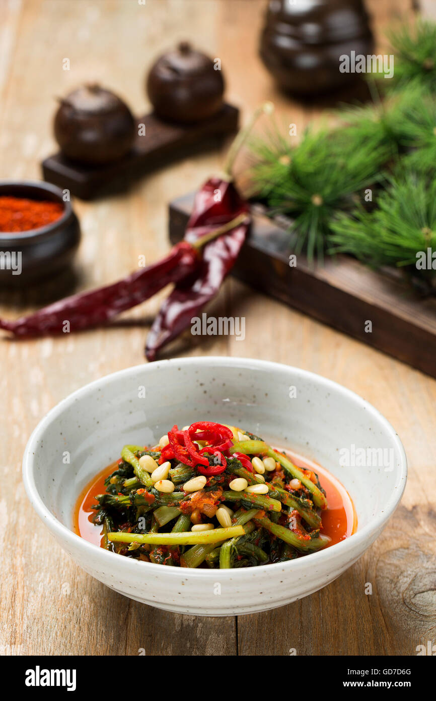 Korean Traditional Food - Kimchi (Fermented/Pickled Young Radish, Asian Cuisine) - Stock Image