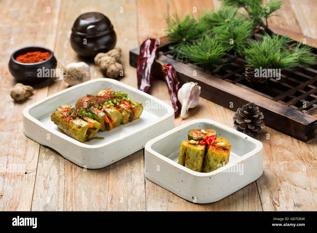 Korean Traditional Food - Kimchi (Fermented/Pickled Cucumber, Asian Cuisine) - Stock Image