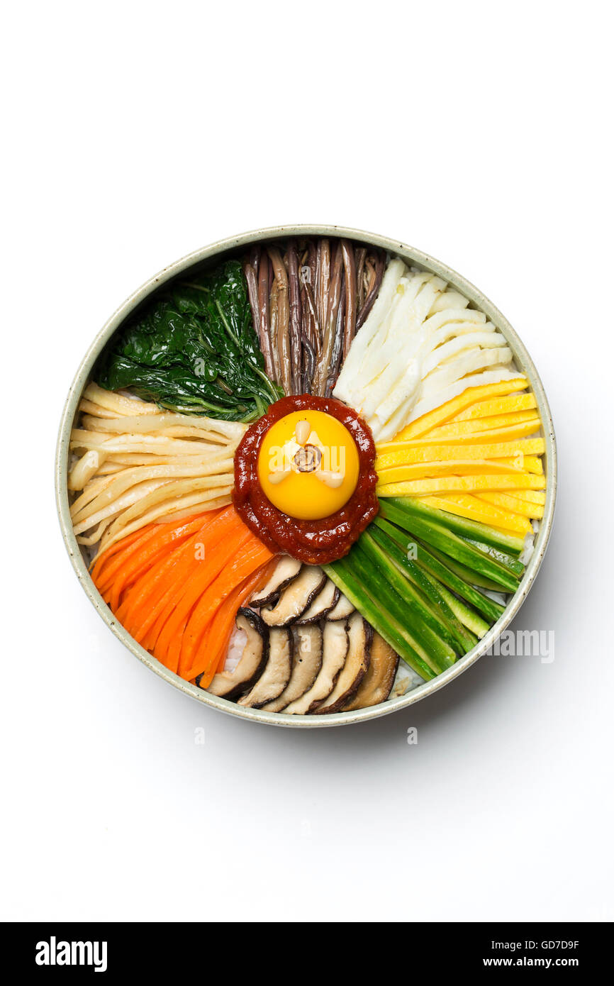 Korean Traditional Food - Bibimbap (Mixed Rice, Asian Cuisine) / Isolated on White - Stock Image