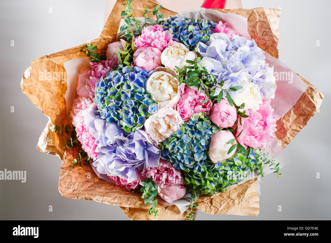 Flower Composition With Hydrangea And Peonies Kraft Paper Crisp
