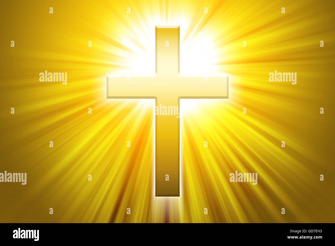 Golden Latin Cross With Sunbeams Christian Cross The Symbol Of