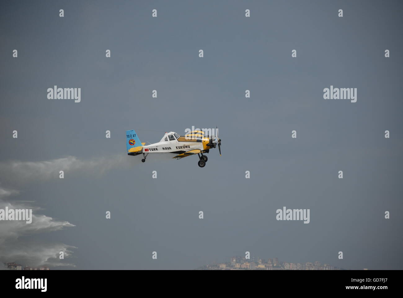 Pezetel PZL-M18 Dromader Firefighter Aircraft during the water dump mission over Etimesgut Airport - Stock Image