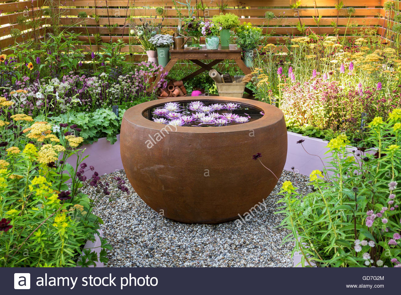 Small summer garden with flowering perennials and round water bowl small summer garden with flowering perennials and round water bowl with water lilies surrounded by wooden panel fencing mightylinksfo