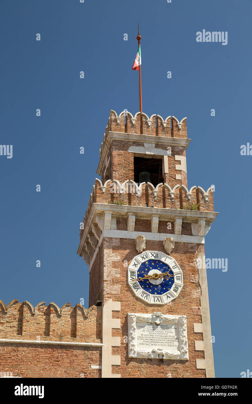 Venice Arsenale clock tower - Stock Image
