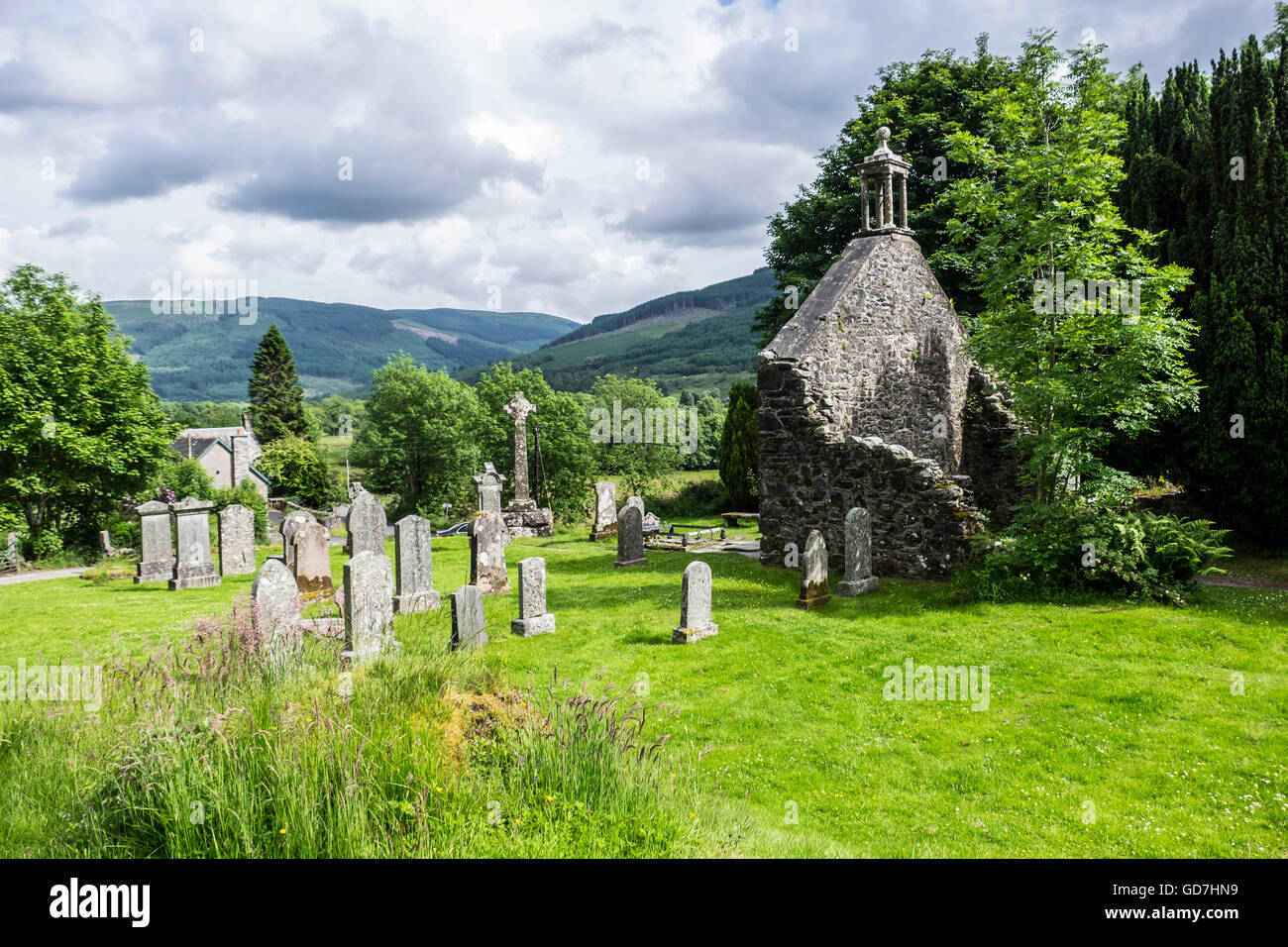 Historic Balquhidder cemetery, the final resting place of the famous Scottish folk hero Rob Roy MacGregor Stock Photo