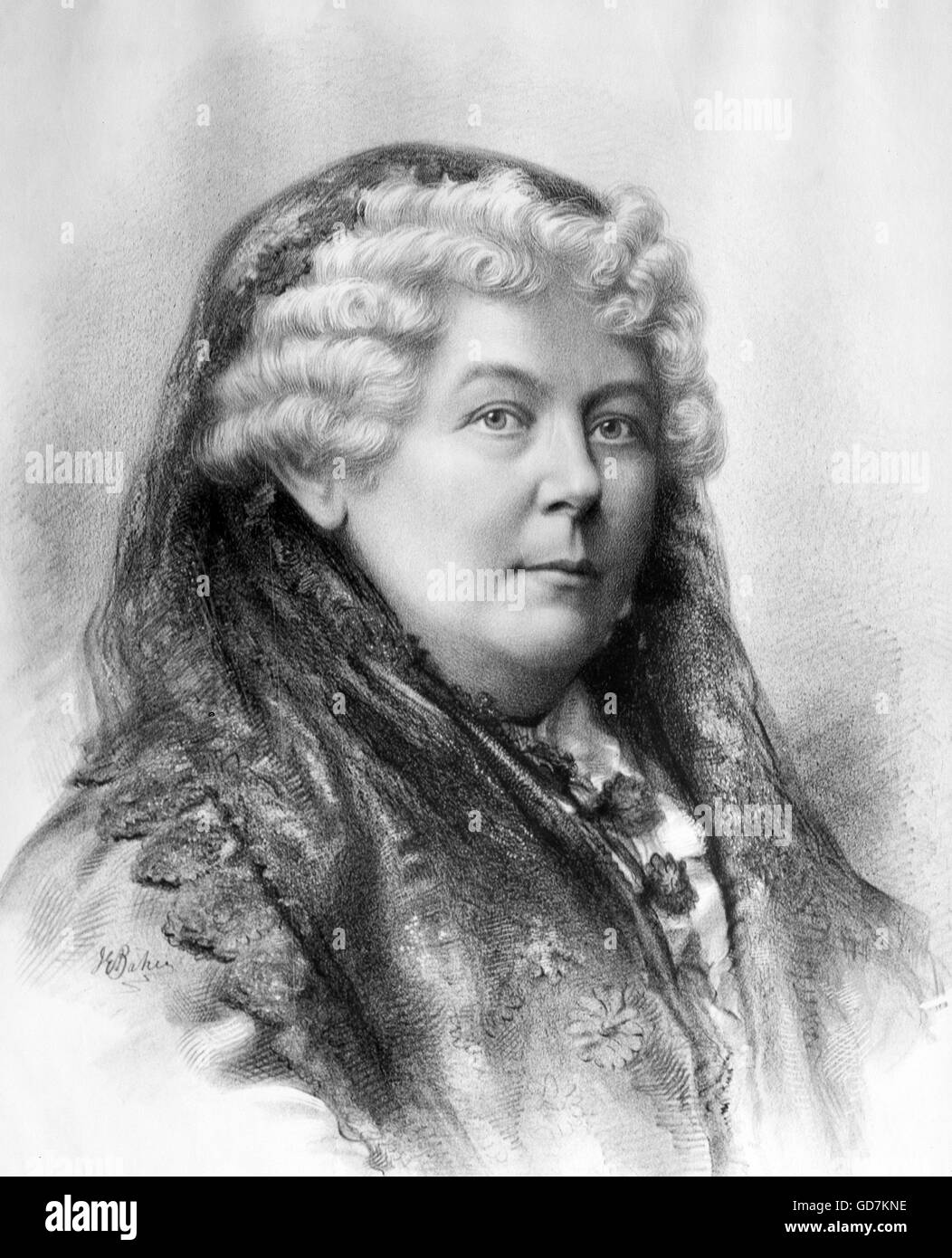 Elizabeth Cady Stanton (1815- 1902), an American suffragist, social activist, abolitionist, and leading figure of - Stock Image