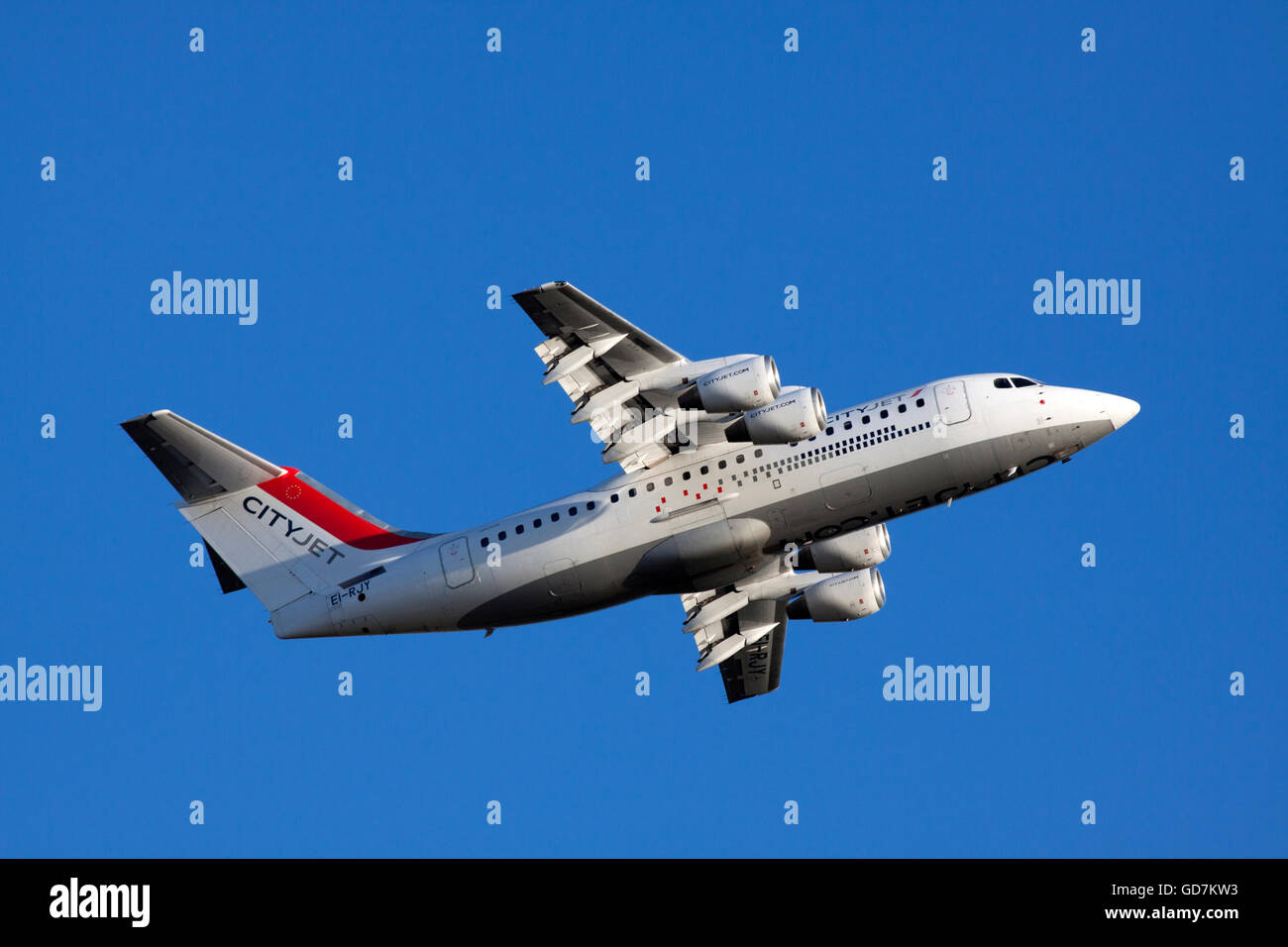 AMSTERDAM, THE NETHERLANDS - FEBRUARY 18, 2015 Close up photo of a four-engined BAe 146 aircraft CityJet with a Stock Photo
