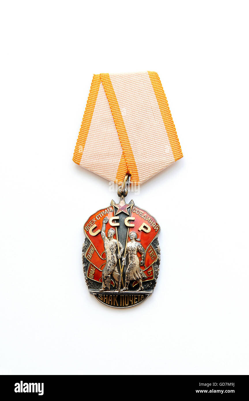 Order of Merit of the USSR, Workers of the world unite Stock Photo