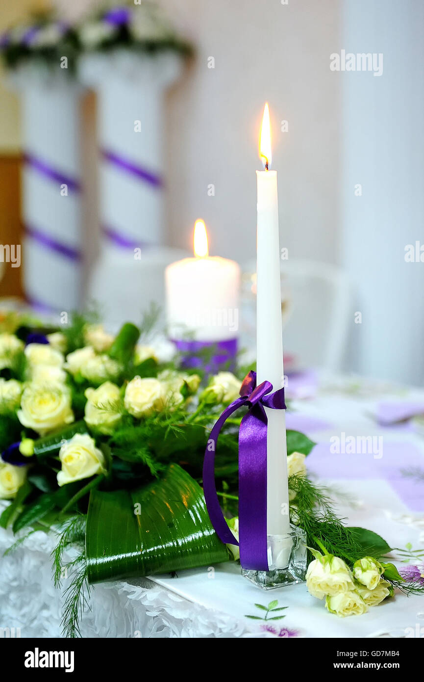 Candle Wedding Decorations Purple Ribbon Stock Photo 111422392 Alamy