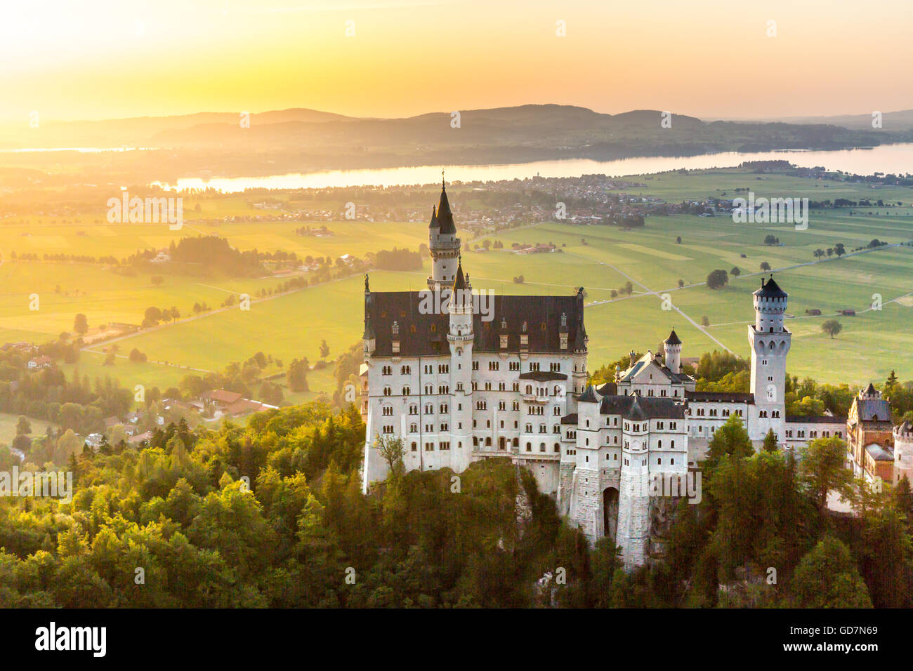 Beautiful summer romantic view of the Neuschwanstein castle at Fussen Bavaria, Germany - Stock Image