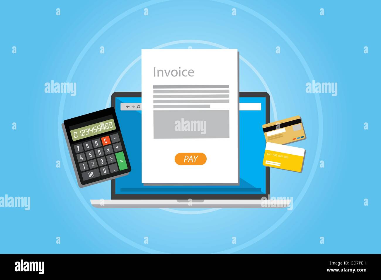 invoice invoicing online service pay stock vector art illustration