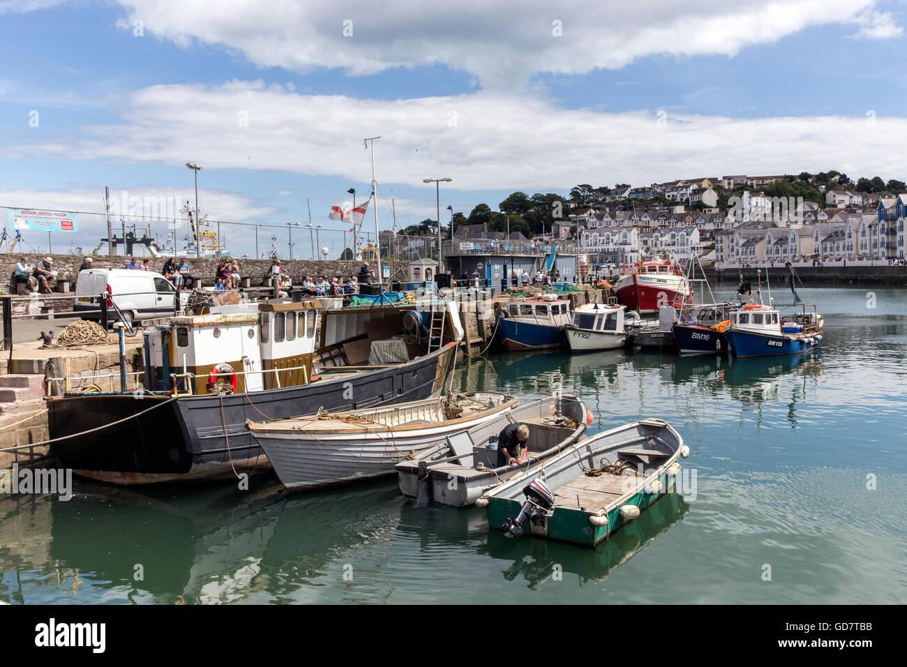 Brixham devon, uk, torbay, brixham, coastal, coast, town, shore, white, seaside, anchor, travel, ropes, attraction, - Stock Image