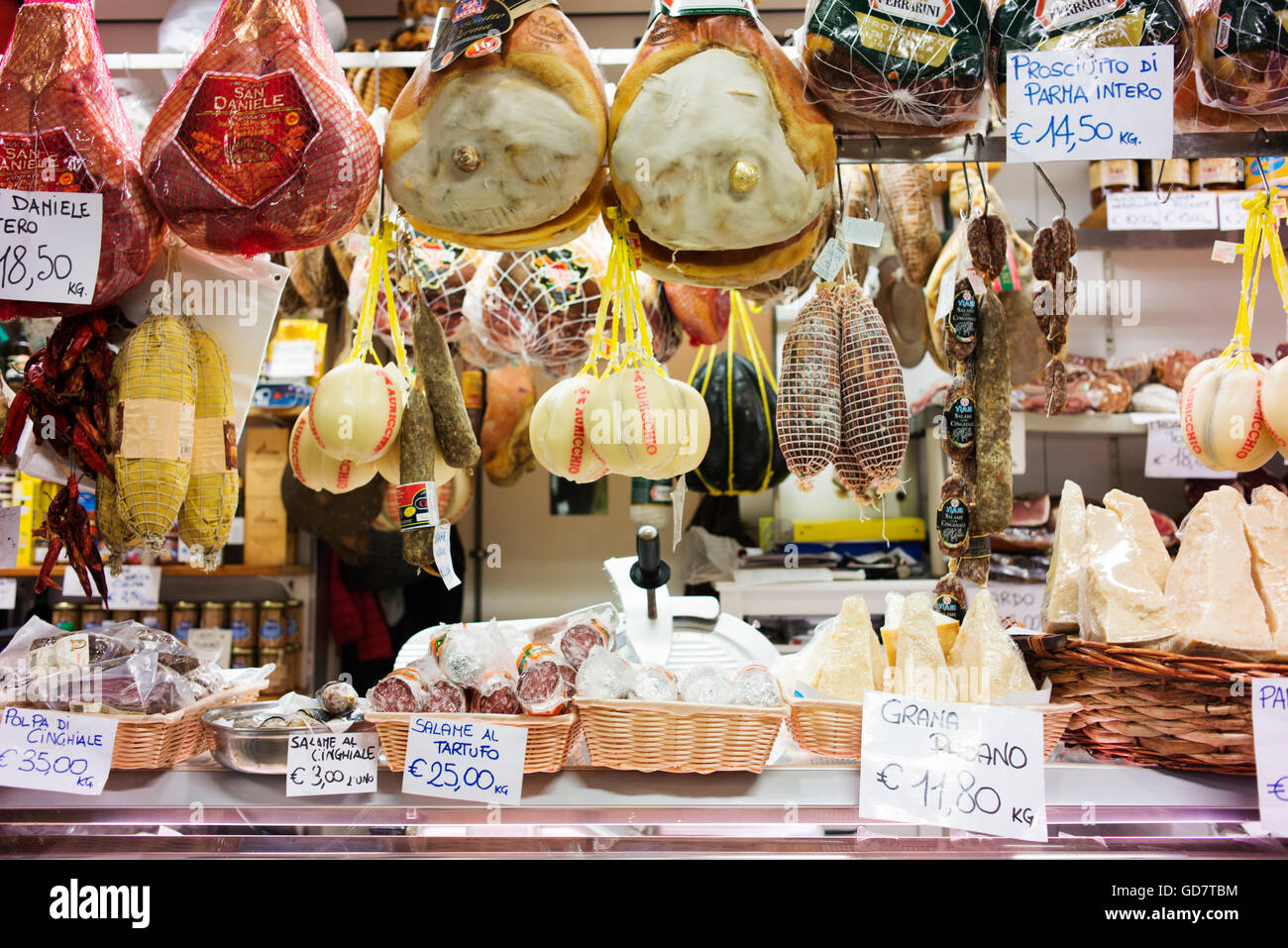 Cheeses and cured meats in Florence's Central Market. - Stock Image
