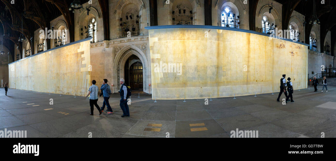 Jorge Otero-Pailos's installation 'The Ethics of Dust' for Art Angel at Westminster Hall, London, UK - Stock Image