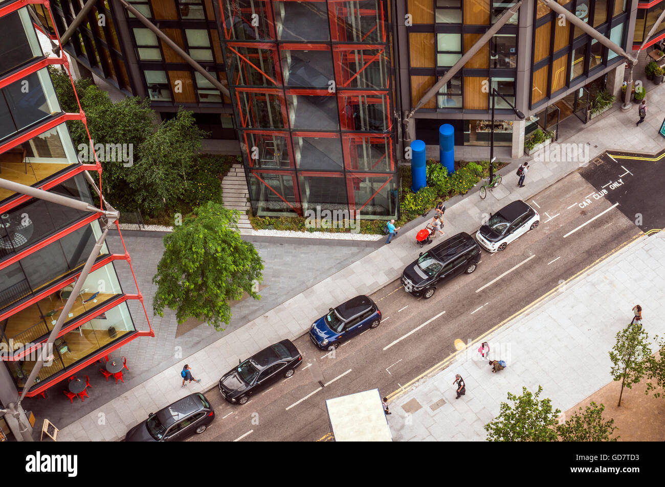 Street view from Tate Modern extension on the South Bank, London, UK - Stock Image