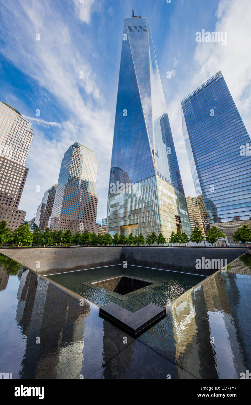 One World Trade Center is the main building of the rebuilt World Trade Center complex in Lower Manhattan, New York - Stock Image