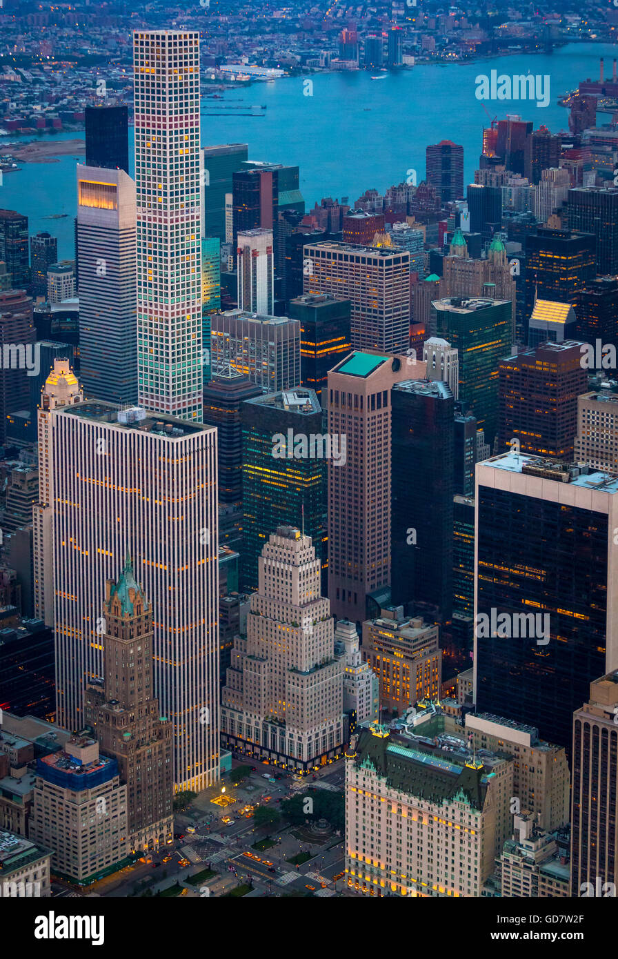 Manhattan is the most densely populated of the five boroughs of New York City. - Stock Image