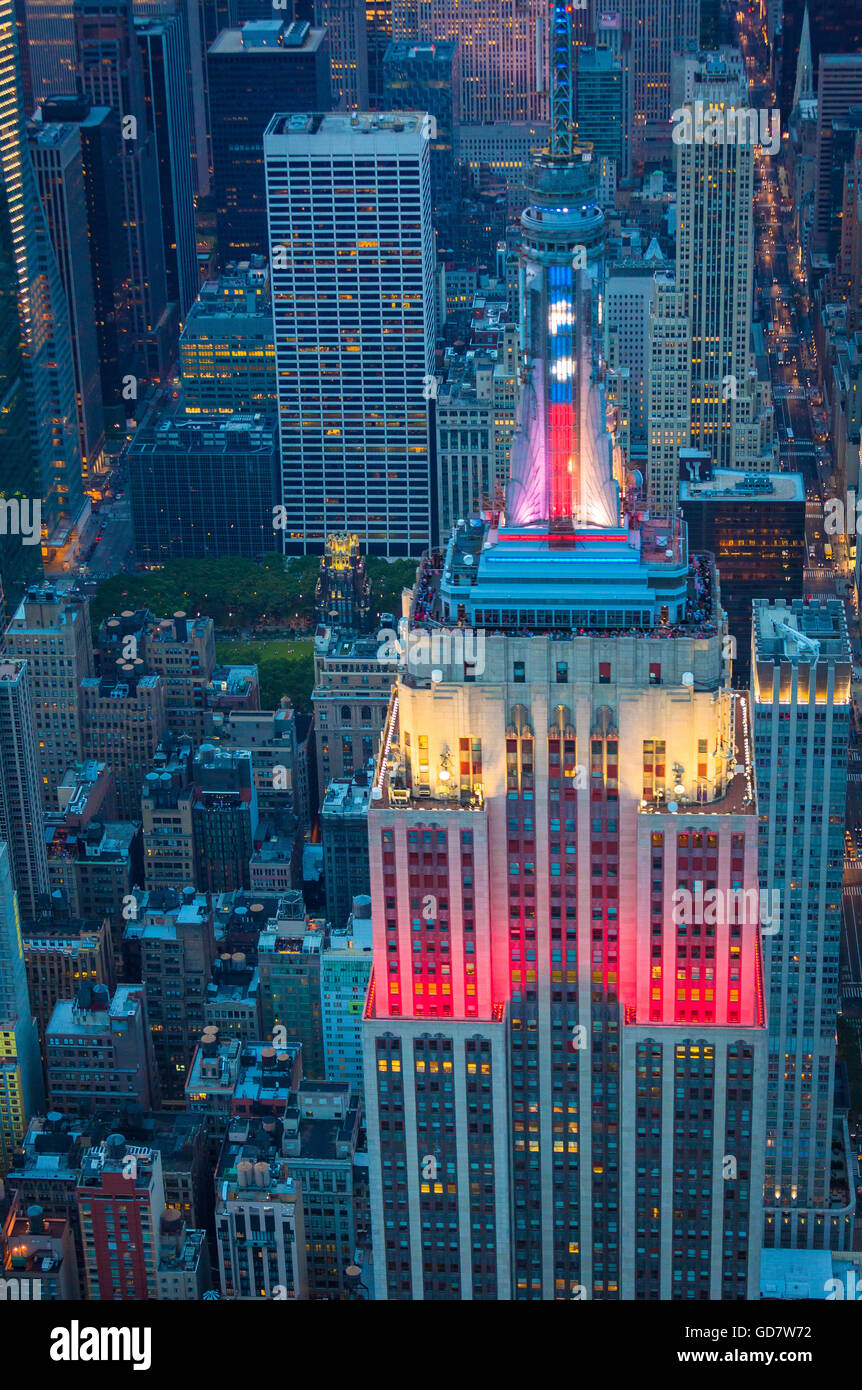 The Empire State Building is a 102-story landmark Art Deco skyscraper in New York City, United States - Stock Image