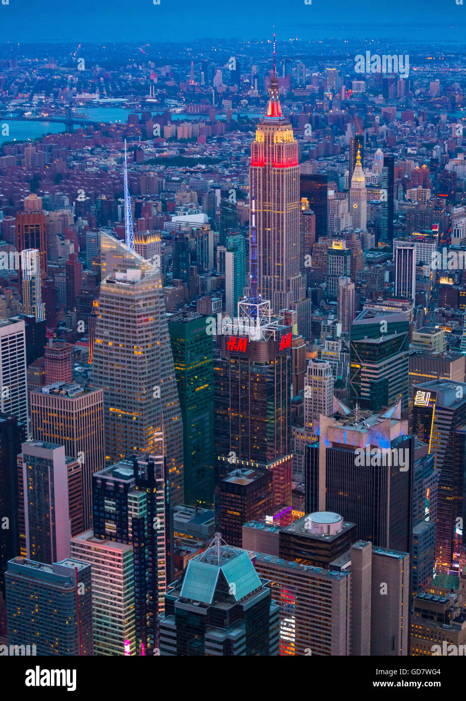 Manhattan is the most densely populated of the five boroughs of New York City - Stock Image