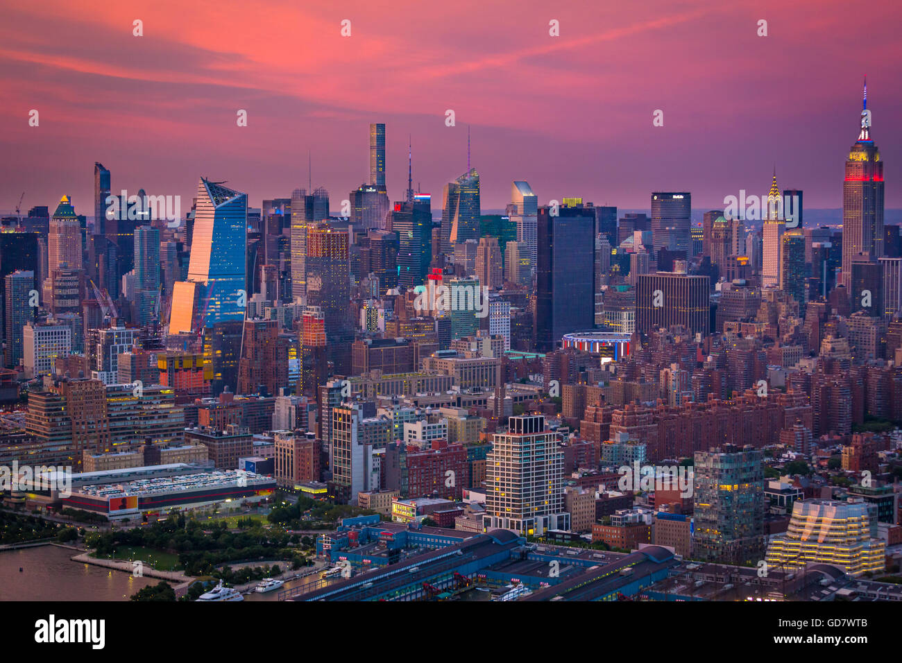 Aerial photograph (helicopter). Manhattan is the most densely populated of the five boroughs of New York City. - Stock Image