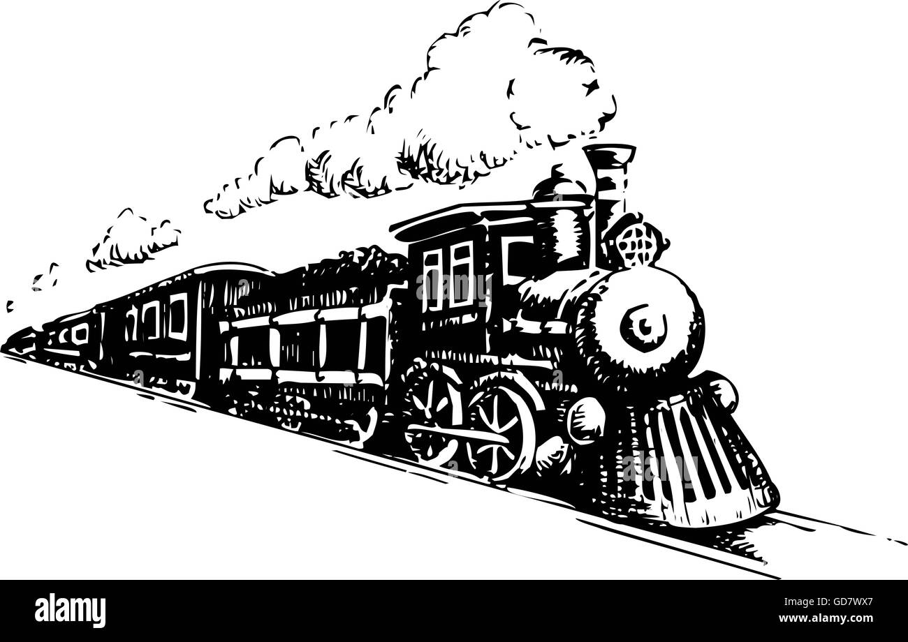 Old Steam Locomotive. Vector illustration on a white - Stock Image