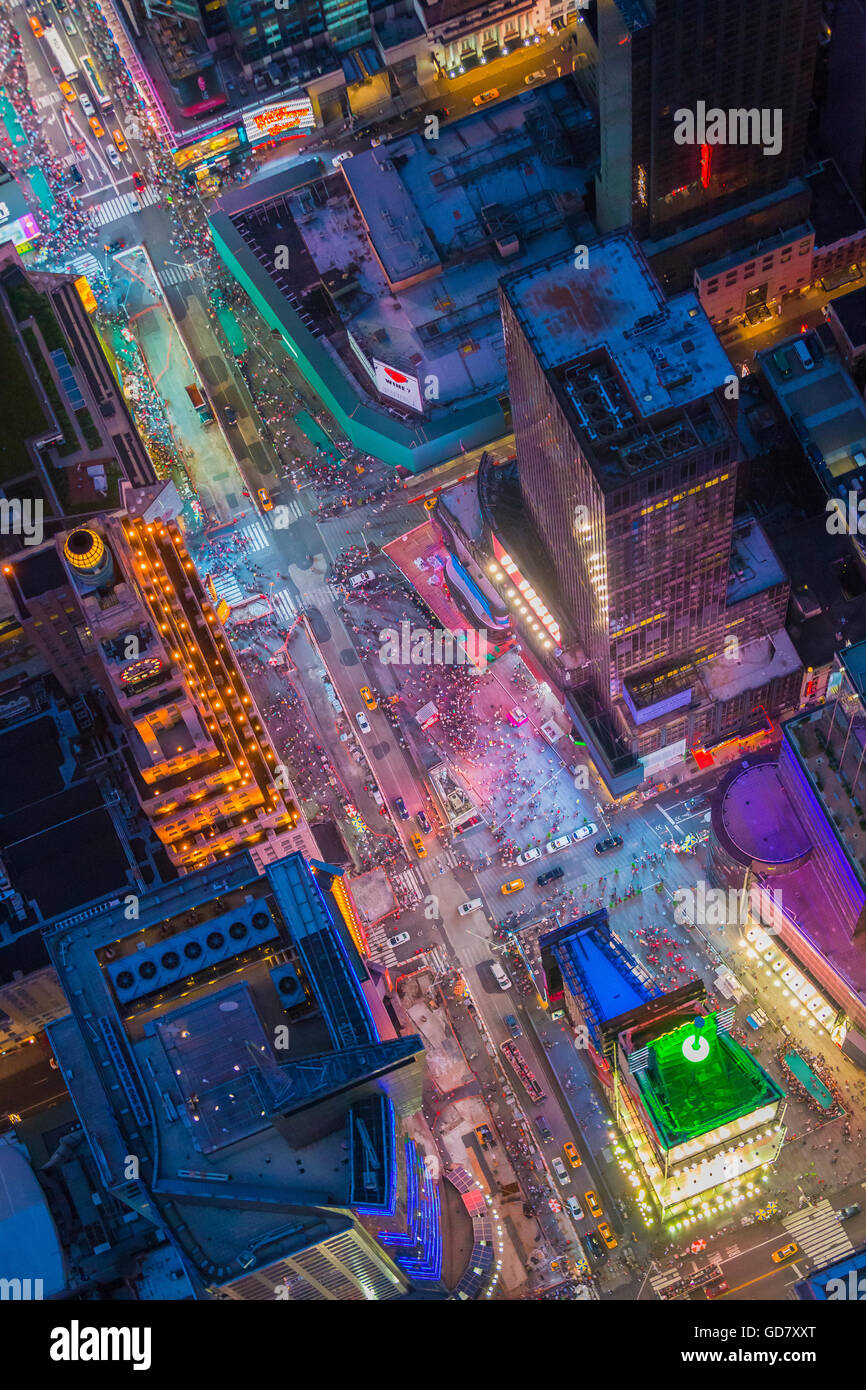 Aerial photograph (helicopter). Times Square is a major commercial intersection and neighborhood in Midtown Manhattan, - Stock Image