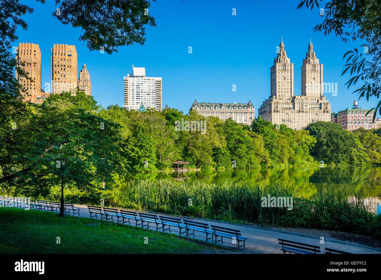 Upper West Side residential buildings across The Lake in Central Park, New York City - Stock Image