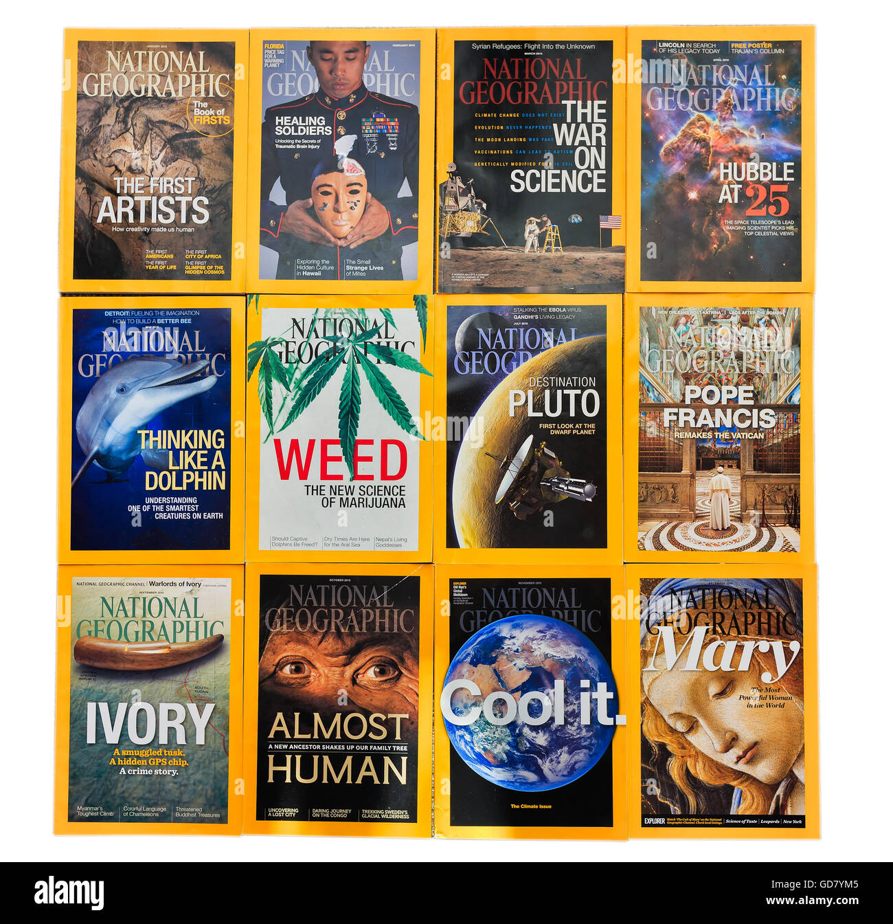 Sydney - JUL 16: Full 2015 year collection of National Geographic Magazines on Jul. 10, 2016 in Sydney, Australia. - Stock Image