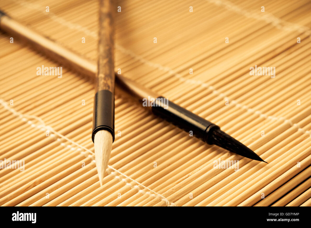 two brushes for Chinese calligraphy - Stock Image