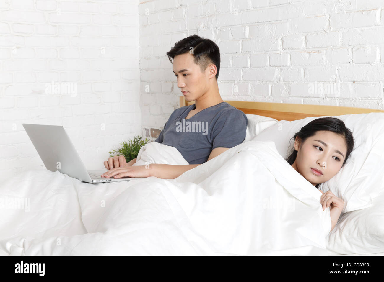Relationship tension young couple - Stock Image