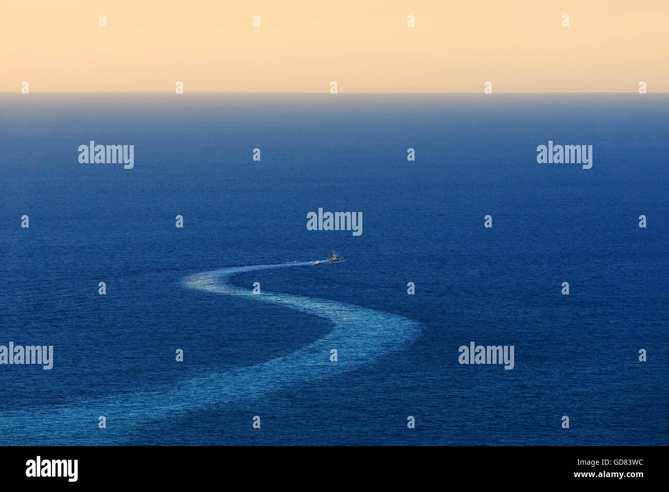 ship trace on the sea - Stock Image