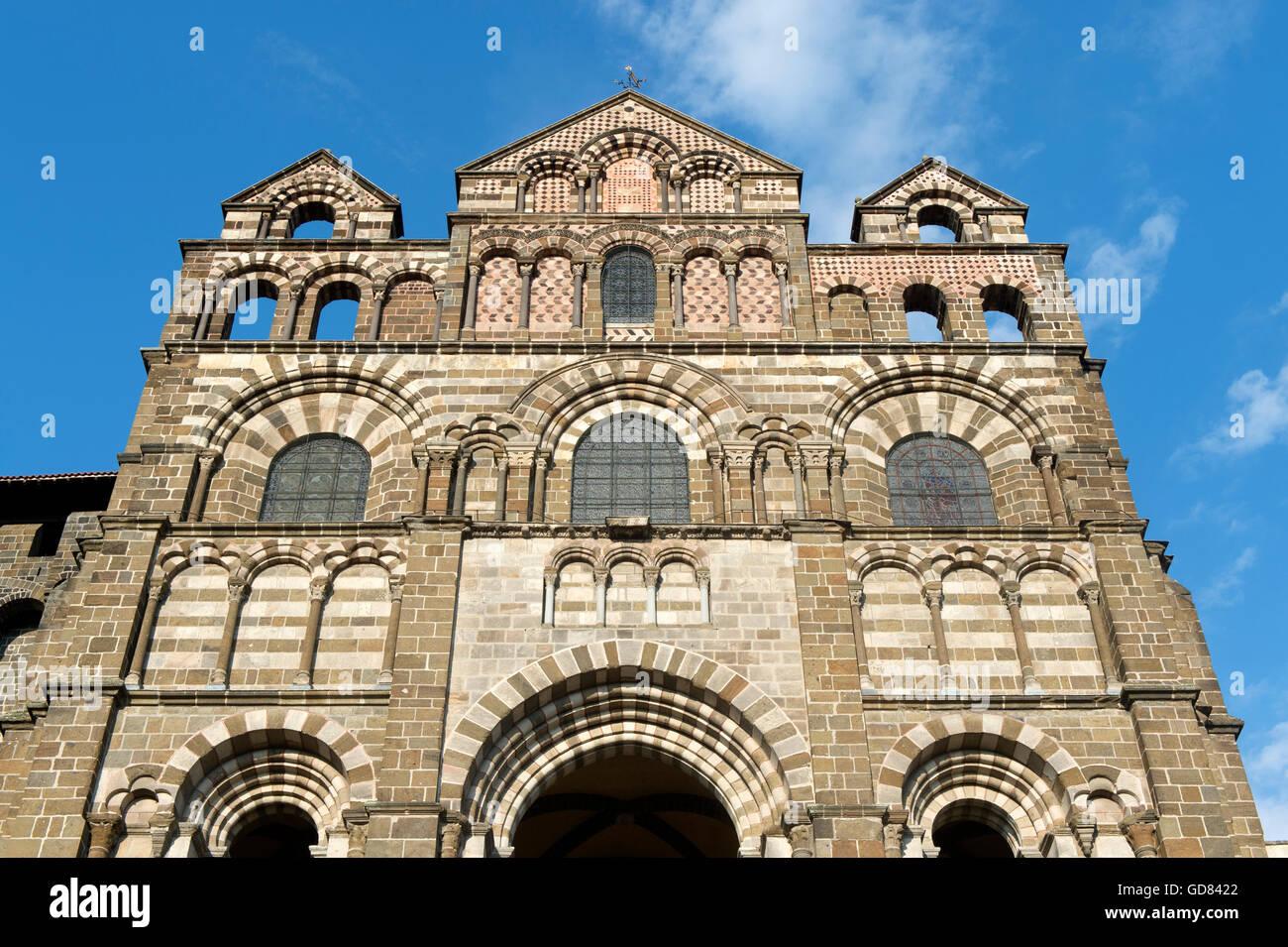 Europe, France, Haute Loire, Le Puy en Velay, Notre Dame cathedral Stock Photo