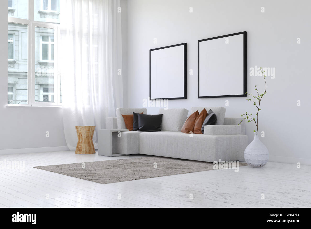 3D rendering of spacious simple living room with neatly arranged sofa and pillows and plant next to pair of blank Stock Photo