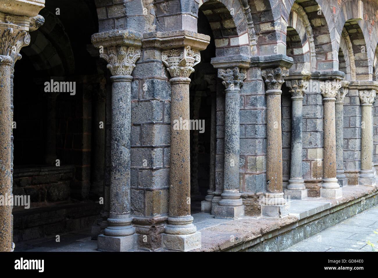 Europe, France, Haute Loire region, Le Puy en Velay, Notre Dame Cathedral Stock Photo