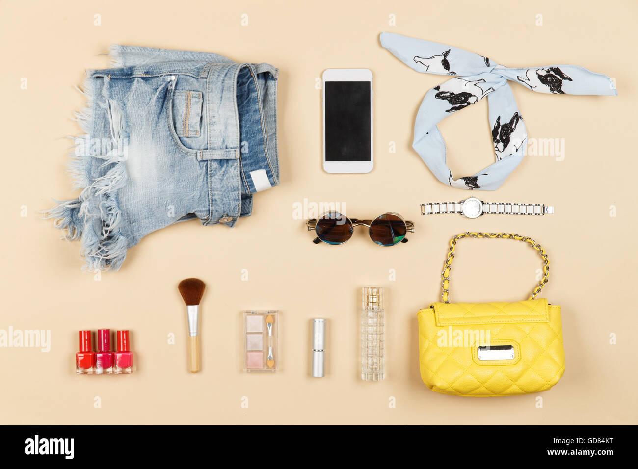 Women personal belongings - Stock Image