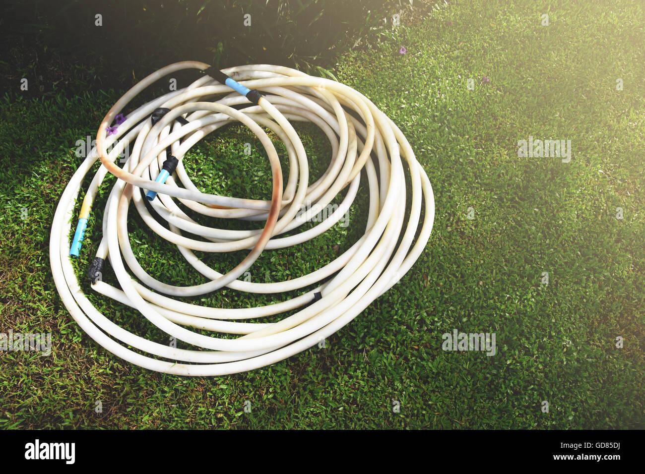 Garden Hose In Morning Light Or Evening Light   Stock Image