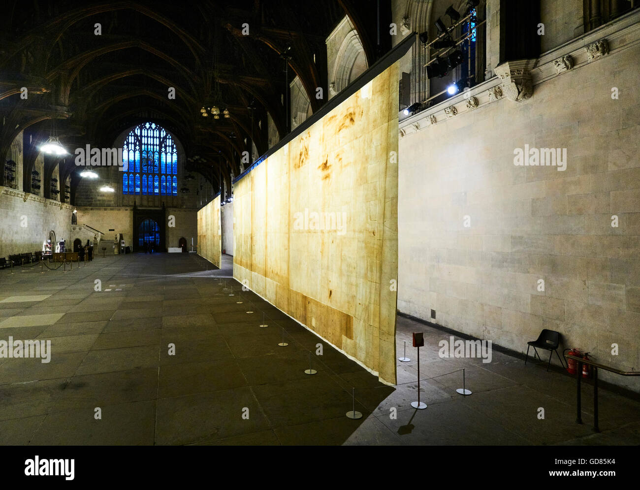 The Ethics of Dust, an art installation in Westminster Hall, in the Palace of Westminster, London, by Jorge Otero - Stock Image